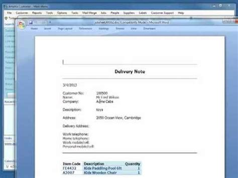 standard shipping note template create delivery note