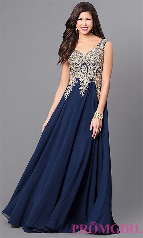 Lace Applique Long Chiffon Prom Dress PromGirl