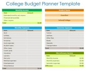 College Budget Template by College Budget Planner Template Budget Templates