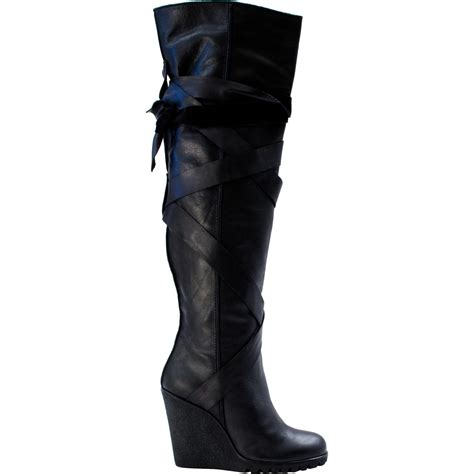 regina   knee wedge boots black paolo shoes