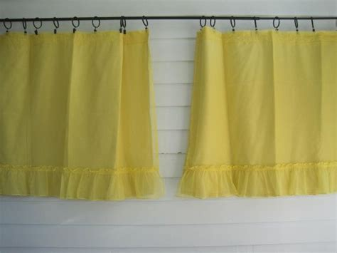 short yellow curtains vintage yellow short curtains pair of ruffled kitchen