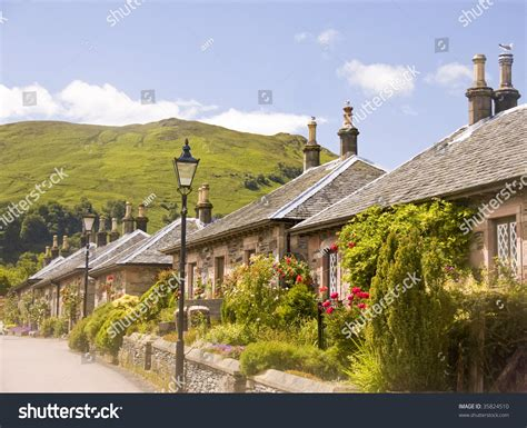 Luss Cottages by Cottages Luss Scotland One Small Stock Photo