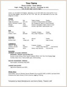 Talent Resume Format by Document Templates Acting Resume Format
