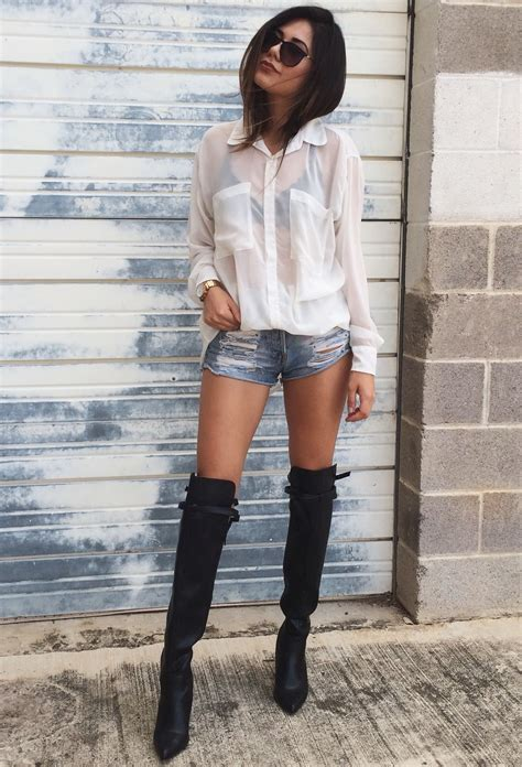 shorts with boots how to wear the knee boots 2018 fashiontasty