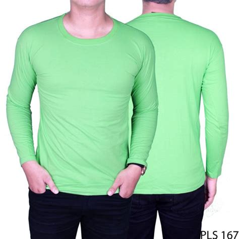 kaos polo shirt lengan panjang cotton cardet hijau stabilo