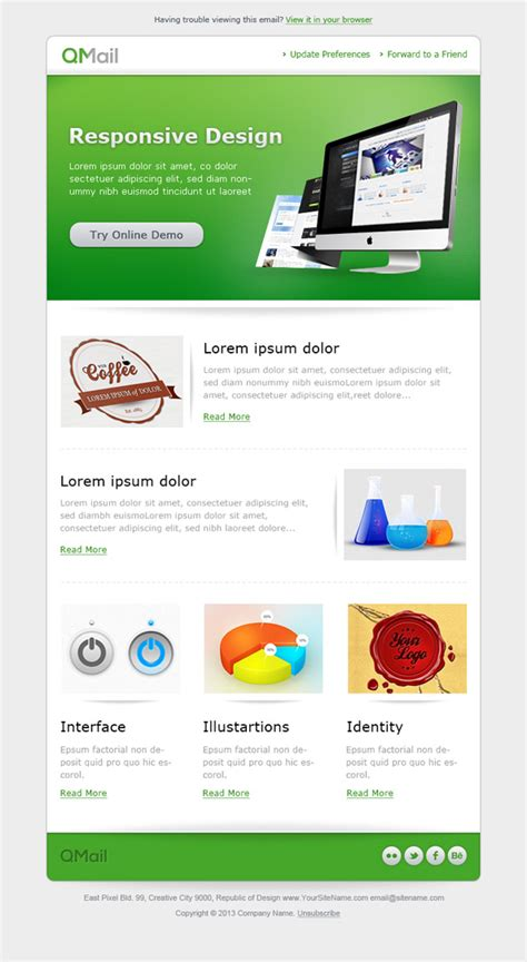 Free Email Template In Green Color Free Mail Templates Free Email Templates