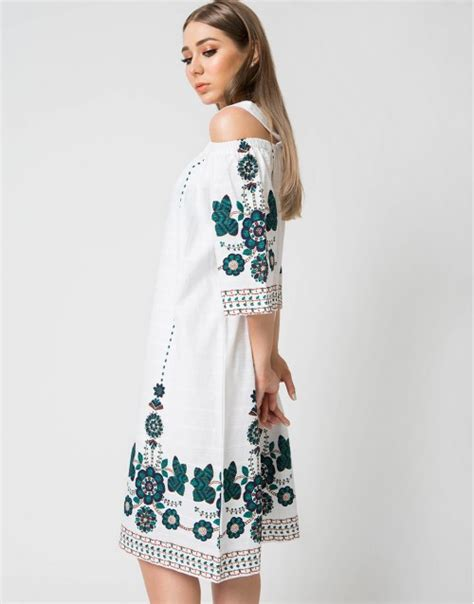 Cutout Shoulder Midi Dress letouch embroidery shoulder cutout midi dress