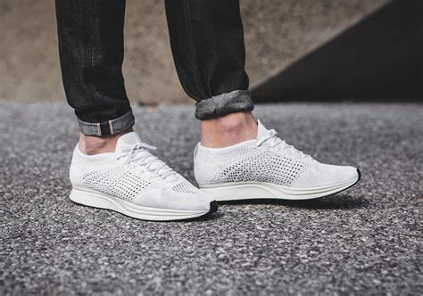 Sepatu Nike Flyknit Racer All White nike flyknit racer white on foot look sneakernews