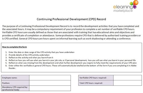 professional development plan sle templates top 28 cpd cycle elearning marketplace free cpd