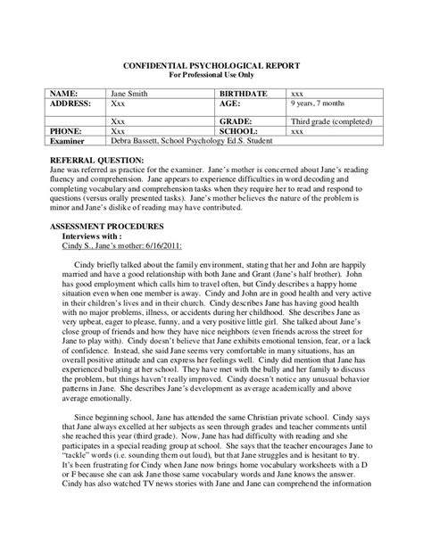 psychiatrist report template psychological report sle