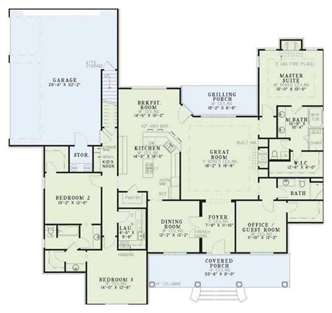 House Plans 5 Bedrooms House Plan 110 00392 Ranch Plan 2 556 Square Feet 4