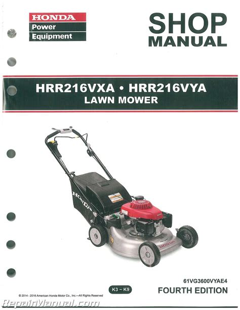 honda mower manual honda hrr216vxa hrr216vya service manual