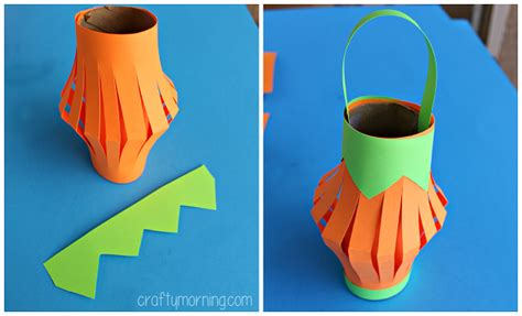 Lantern Paper Craft - pumpkin toilet paper roll lantern craft crafty morning
