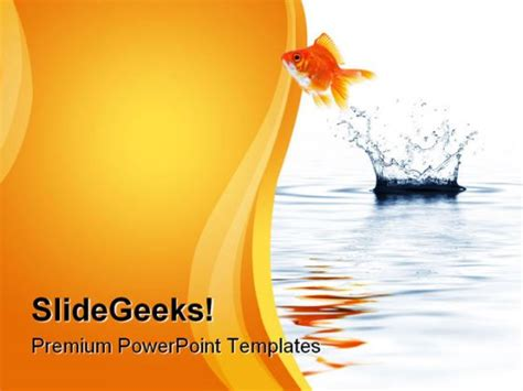 gold themes free download gold fish jumping business powerpoint template 1110