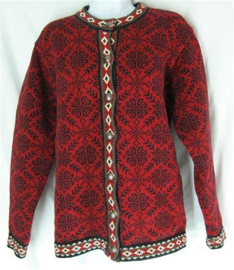 snowflake pattern sweater knit sz l ll bean sweater cardigan nordic knit norwegian