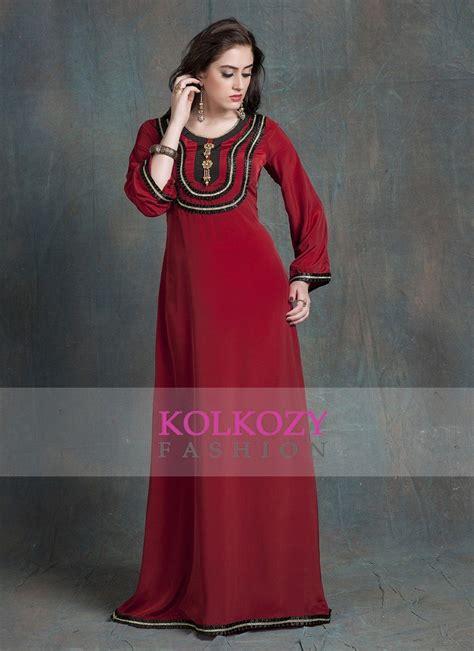 Dress Arabic Bordir Maroon maroon color kaftan crepe kaftan