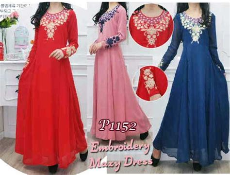 Bilbina Maxi Gamis Brukat Dress Bordir Pesta baju muslim pesta sifon amanda p1152 gamis maxi dress