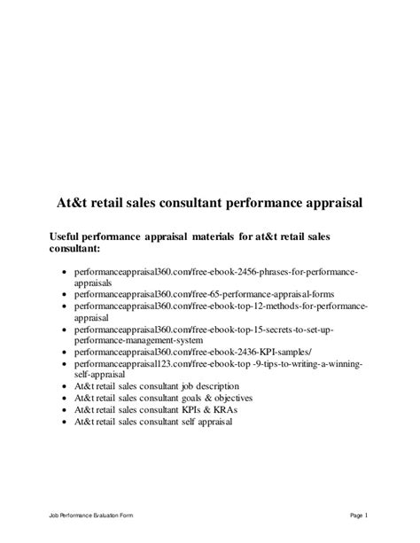 Sle Letter For Performance Evaluation At T Retail Sales Consultant Performance Appraisal