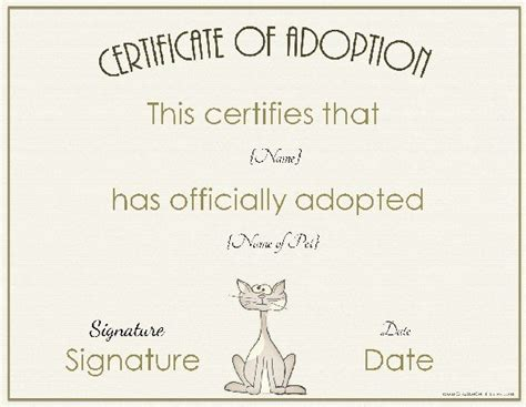 child adoption certificate template adoption certificate
