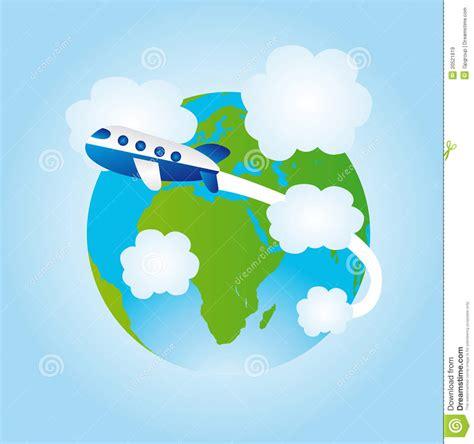 earth  airplane cartoon stock illustration