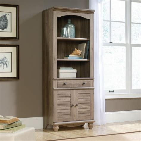 Sauder Harbor View 3 Shelf Bookcase In Salt Oak 419911