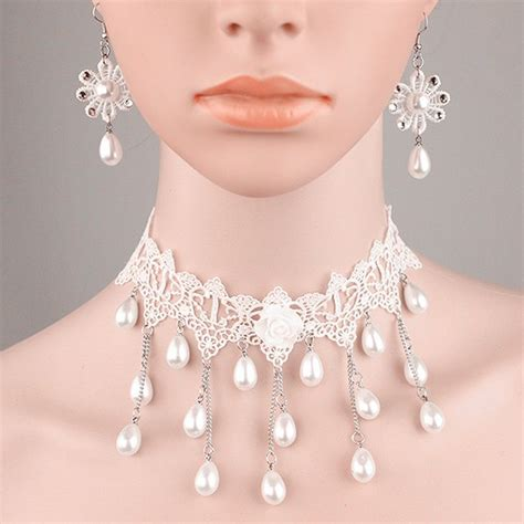 Set Faux Pearl Earring Necklace white lace faux pearl womens necklace earrings set
