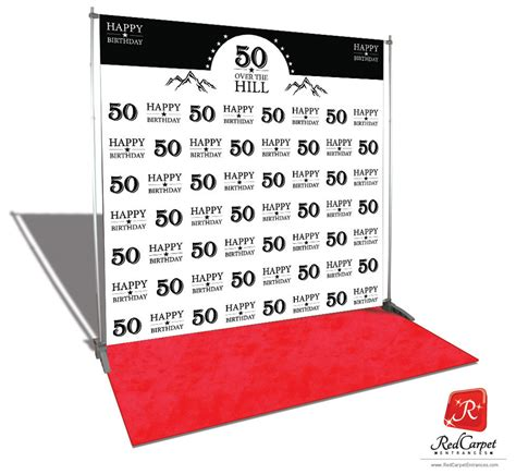 backdrop design for 50th birthday over the hill 50th birthday backdrop white 8x8 red