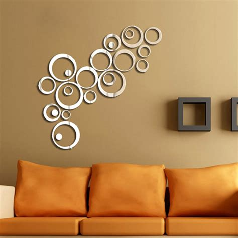 wall sticker mirrors diy acrylic mirror wall stickers office decorative multi style ebay