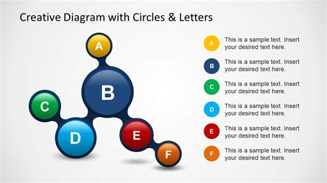 Creative Diagram With Circles Letters For Powerpoint Creative Diagrams
