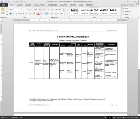 Fsms Haccp Plan Worksheet Template Haccp Template Word