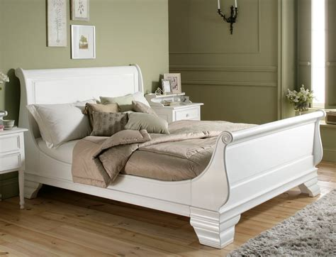 bordeaux style white wooden sleigh bed king size