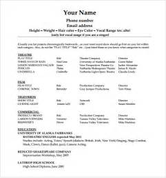 beginners cv template sle beginner acting resume