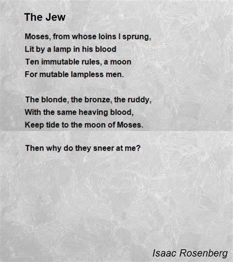 the jew poem by isaac rosenberg poem hunter
