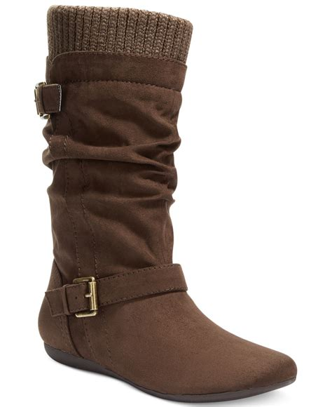 s water boots lyst report everton slouchy sweater boots in brown