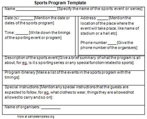 sports program template program template for sports exle of sports program