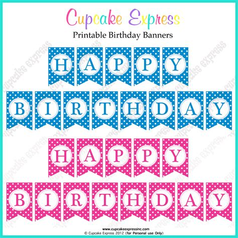 free printable happy birthday banners pink blue free