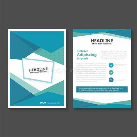 abstract blue low polygon leaflet brochure flyer template abstract green blue polygon vector leaflet brochure flyer