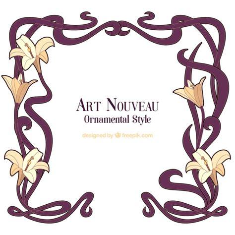nouveau floral frame vector free