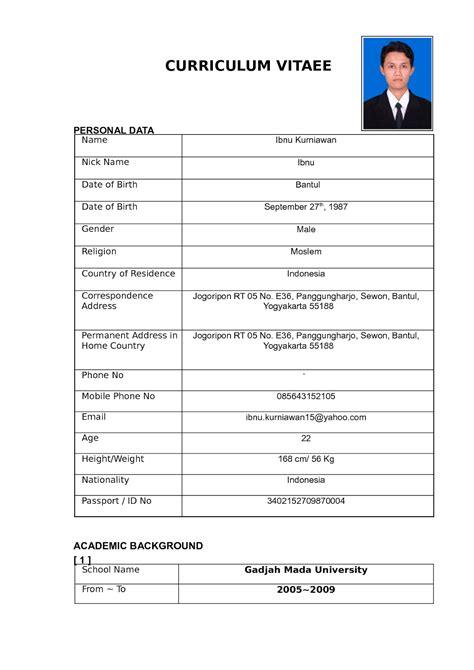 membuat resume yang baik untuk fresh graduate 15 contoh curriculum vitae ben jobs