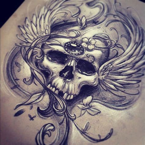 skull tattoo sketches by giannis karampetsos