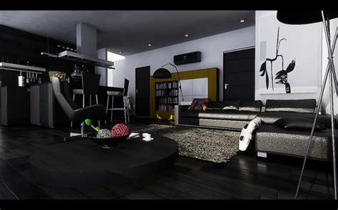 Black Modern Living Room Dark ebony Hardwood Floors