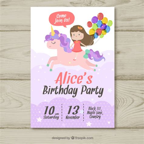 la rosa realty cards templates birthday invitation with unicorn vector free