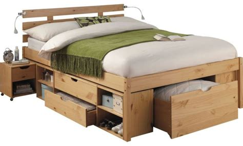 Wooden Bed Frames With Storage Drawers Fascinating Bed Frame Made From High Quality Material Pine Wood Storage Bed Frame Green