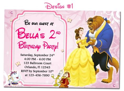 beauty the beast belle birthday party photo invitations