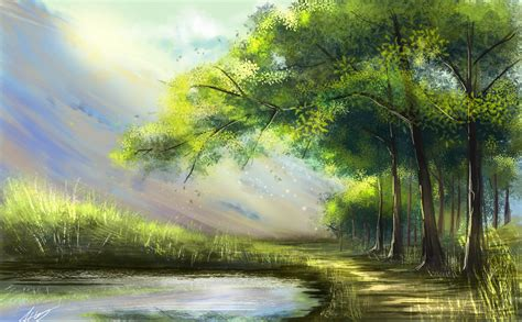 painting art forest lake tree nature landscape rays hd
