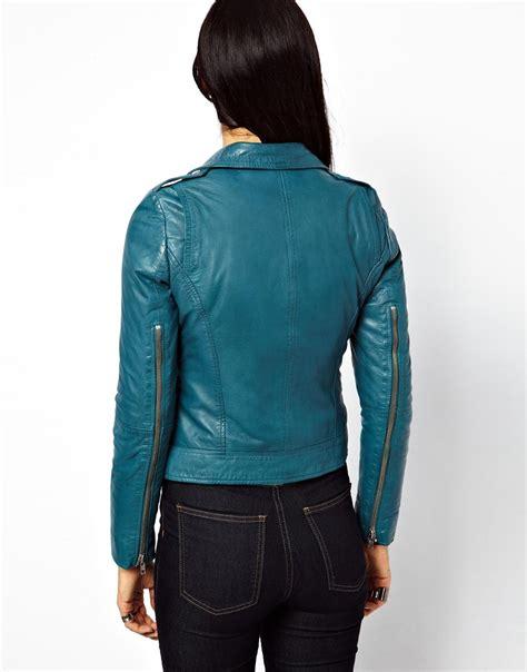 Jaket Demin Green Wash Termurah lyst muubaa carmona clean leather jacket with epaulettes in blue in green