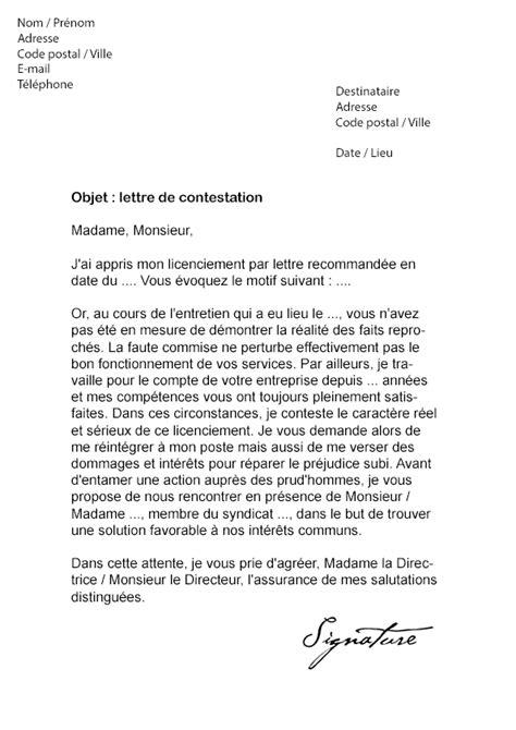 Lettre de contestation Licenciement - Modèle de Lettre