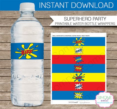 superhero party water bottle labels or wrappers instant