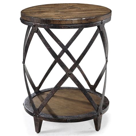 accent end table pinebrook round accent end table with rustic iron legs by