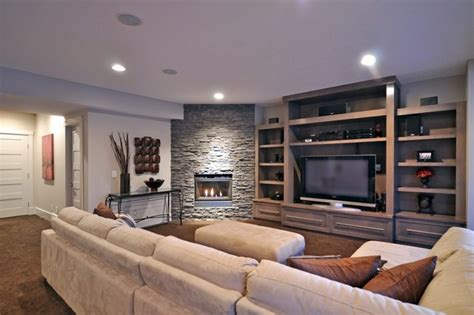 living room media center media center and stacked stone fireplace contemporary